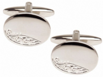 Dalaco 90-9009 Rhodium Plated Oval Engraved Leaf Design Cufflinks